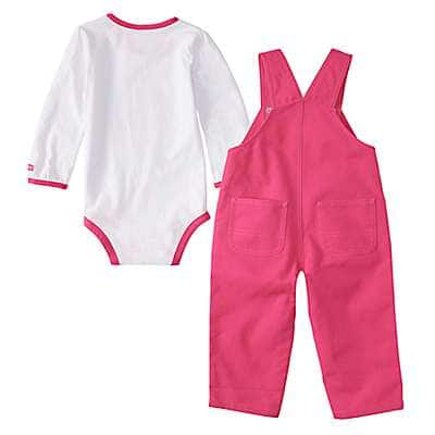 Carhartt Girls' Fuschia Purple Canvas Overall Set - back