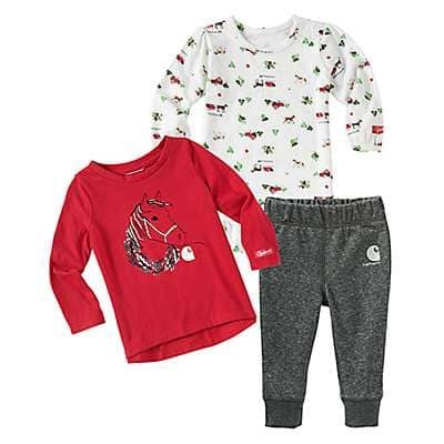 Carhartt Girls' Charcoal Heather Holiday 3-Piece Set - front