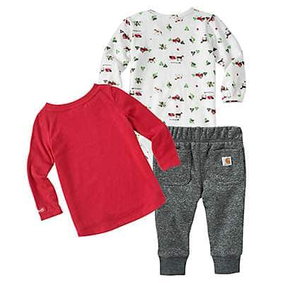 Carhartt Girls' Charcoal Heather Holiday 3-Piece Set - back