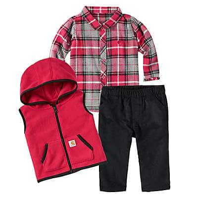 Carhartt Girls' Caviar Black Flannel Vest 3-Piece Set - front