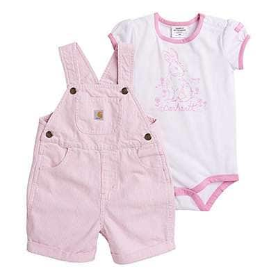 Carhartt Girls' Rosebloom Ticking Stripe Ticking Stripe Shortall Set - front