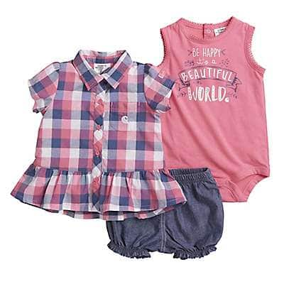 Carhartt Girls' Chambray 3-Piece Plaid Short Set - front