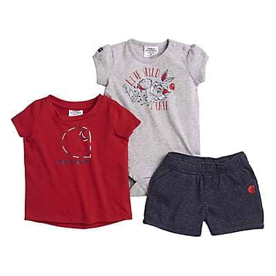 Carhartt Girls' Navy 3-Piece Short Set - front