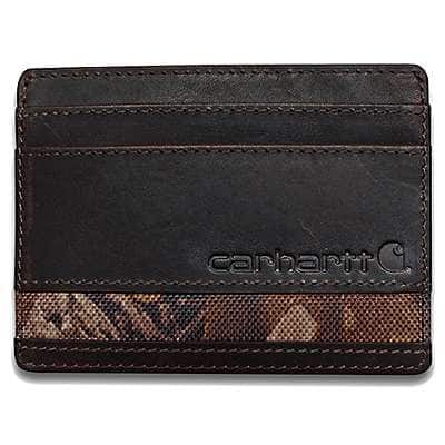 Carhartt Men's Dark Brown Oil Tan Realtree Xtra® Card Case - front