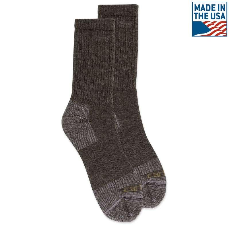 Carhartt  BROWN Merino Wool Comfort Stretch Crew Sock
