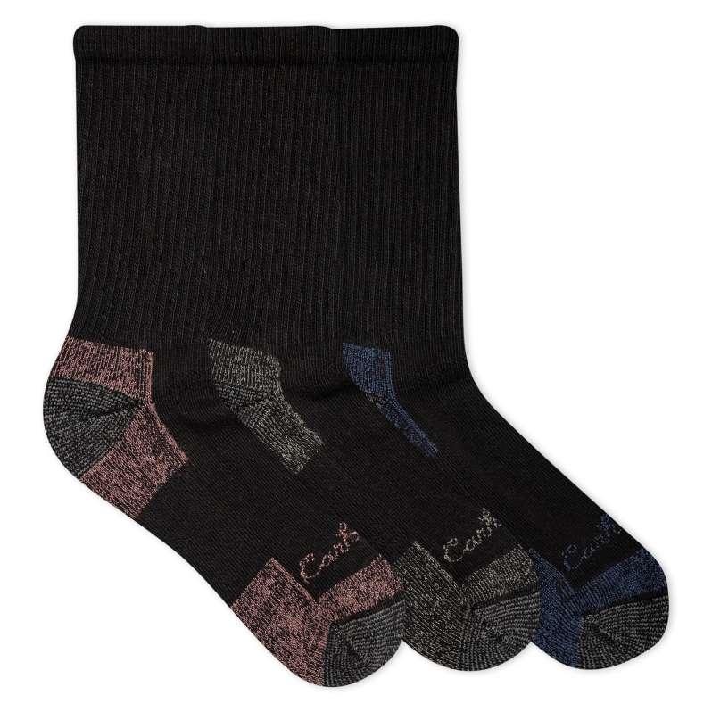 Carhartt  Black Cotton Crew Work Sock, 3 Pack