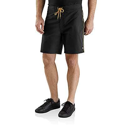 """Carhartt Men's Black Hurley x Carhartt Men's 7"""" Board Shorts - front"""