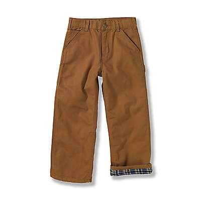 Carhartt Kid's Carhartt Brown Canvas Dungaree Flannel-Lined