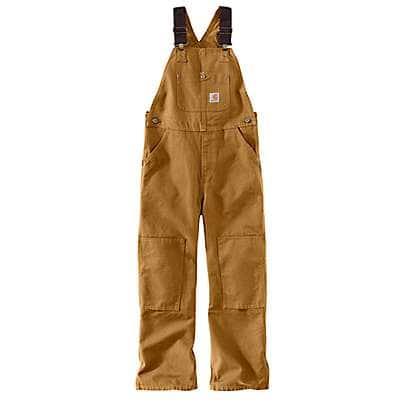Carhartt Boys' Carhartt Brown Duck Washed Bib Overall Sizes 8-16 - front