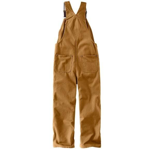 972a7d4b28f ... Carhartt Boys  Carhartt Brown Duck Washed Bib Overall Sizes 8-16 - back
