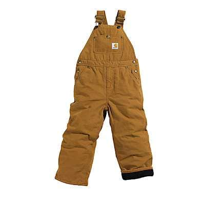 Carhartt Boys' Carhartt Brown Canvas Overall Quilt-Lined Sizes 4-7 - front