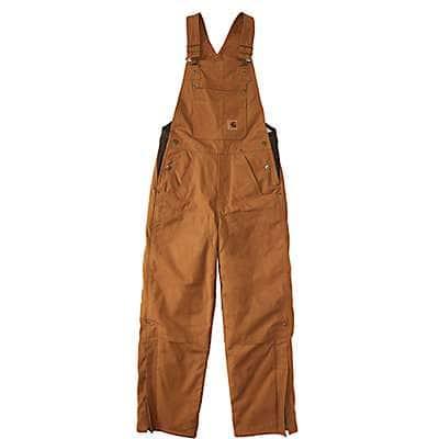 Carhartt Boys' Carhartt Brown Canvas Bib Overall Quilt-Lined - front