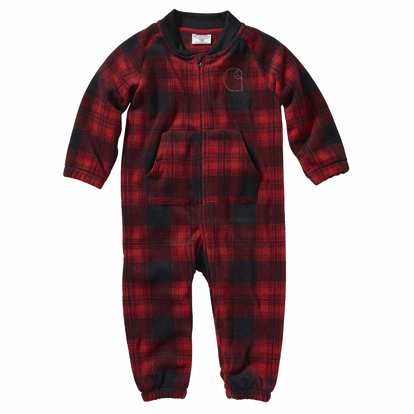 Picture of Long Sleeve Plaid Fleece Coverall in Jalapeno Red