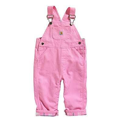 Carhartt Girls' RSM-Rose Bloom Canvas Overall Flannel-Lined - front