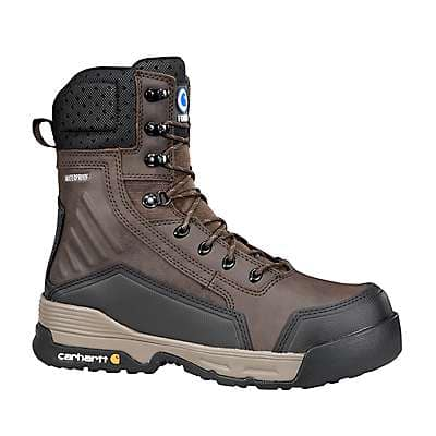 Carhartt Men's Carhartt Brown Carhartt Force® 8 Inch Dark Brown Work Boot with Zipper - front