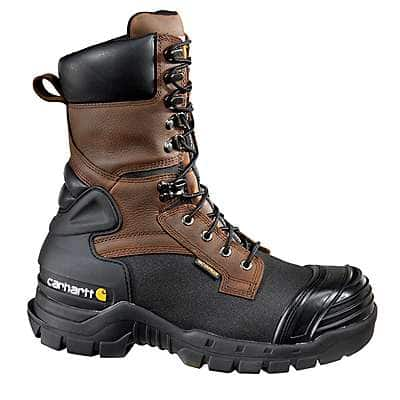 Carhartt Men's Brown Oil Tanned/Black Coated 10-Inch Insulated Composite Toe Pac Boot - front