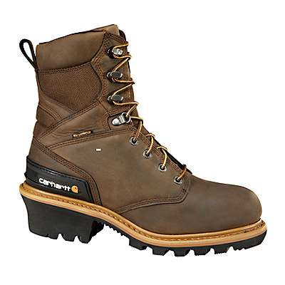 Carhartt Men's CHO-Crazy Horse Brown Oil Tanned 8-Inch Crazy Horse Brown Waterproof Insulated Logger Boot/Non-Safety Toe - front