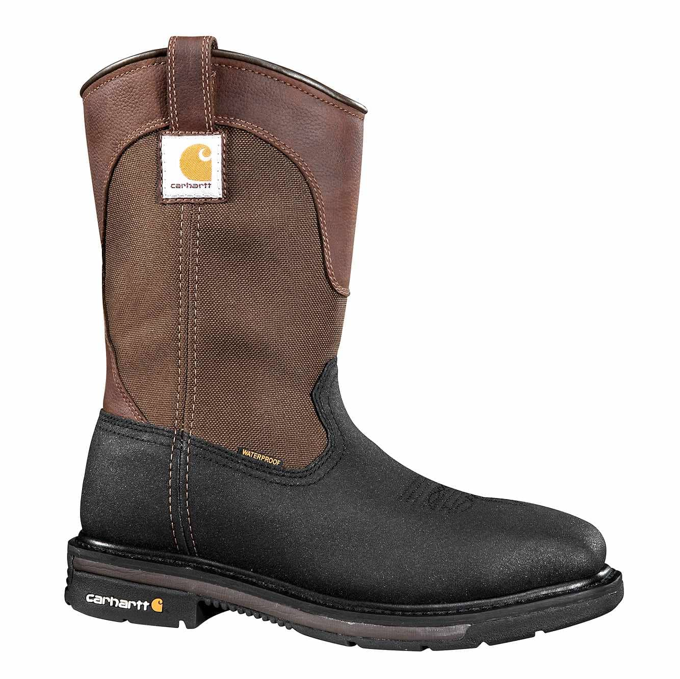 Picture of 11-Inch Square Steel Toe Wellington Boot in Brown Oil Tanned/Black Coated