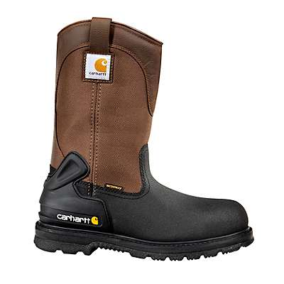 Carhartt Men's Brown and Black Leather 11-Inch Insulated Steel Toe Wellington Boot - front