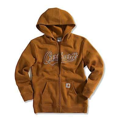 Carhartt Boys' Carhartt Brown Logo Fleece Zip-Front Sweatshirt - front