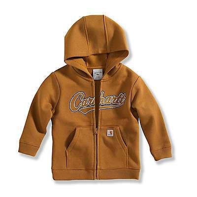Carhartt Boys' Carhartt Brown Infant Logo Fleece Zip-Front Sweatshirt - front