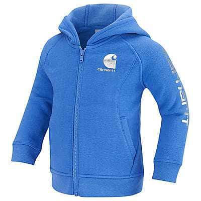 Carhartt Girls' Amparo Blue Carhartt Logo Zip Front Hoodie - front