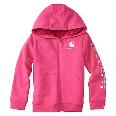 Carhartt Girls' Fuschia Purple Heather Heather Fleece Jacket - front