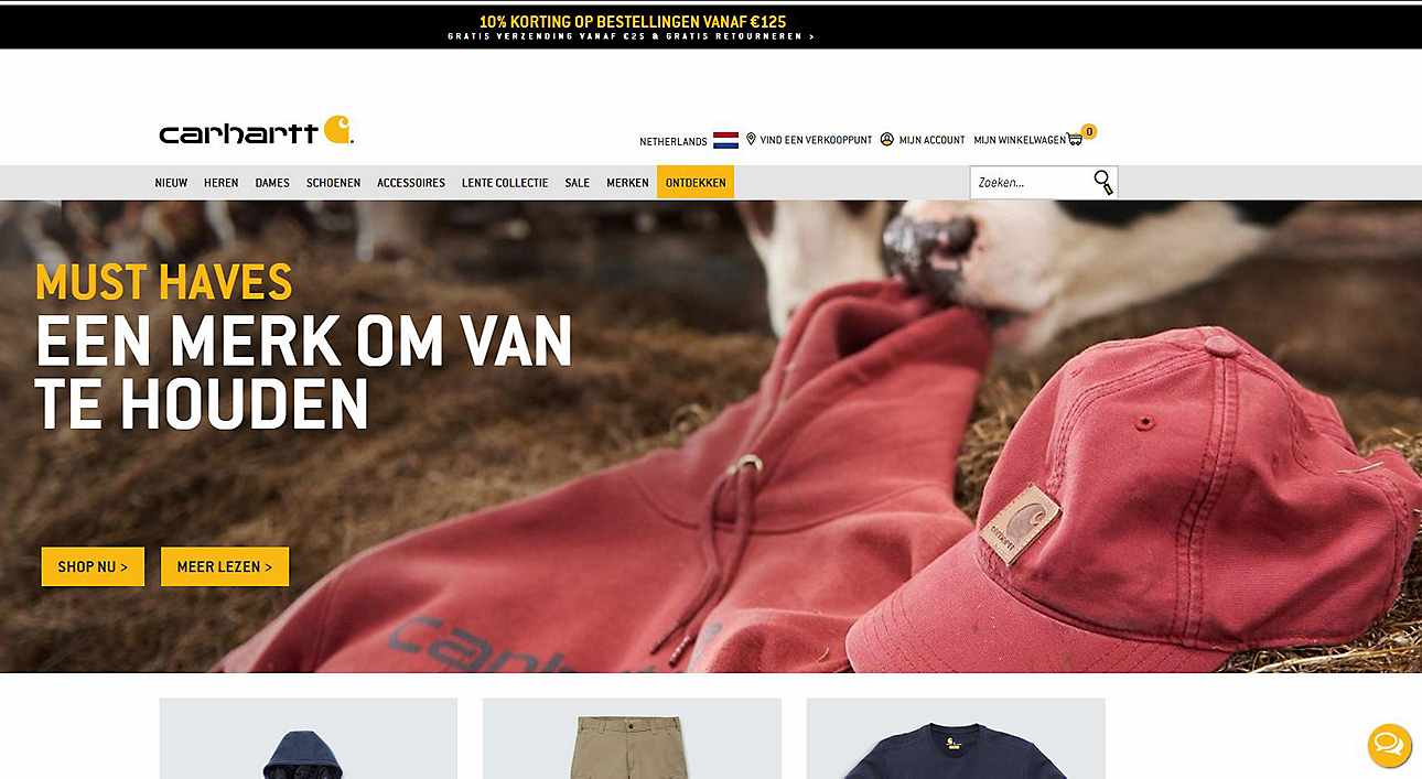Carhartt Europe's new website