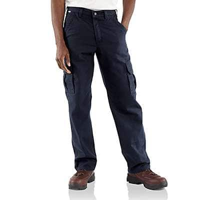 Carhartt Men's Dark Navy Flame-Resistant Canvas Cargo Pant - front