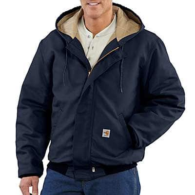 Carhartt Men's Dark Navy Flame-Resistant Midweight Active Jac/Quilt-Lined - front