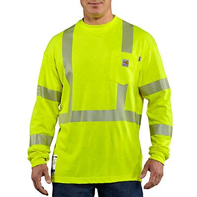 Carhartt Men's Brite Lime Flame-Resistant High Visibility Long Sleeve Shirt - front