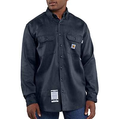 Carhartt Men's Dark Navy Flame-Resistant Lightweight Twill Shirt - front