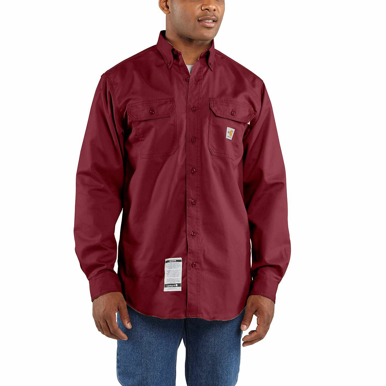 Picture of Flame-Resistant Twill Shirt with Pocket Flap in Dark Crimson