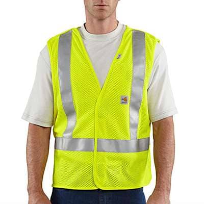 Carhartt Men's Brite Lime Flame-Resistant High-Visibility 5-Point Breakaway Vest - front