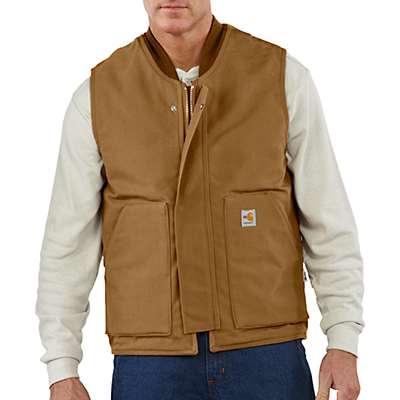 Carhartt Men's Carhartt Brown Flame-Resistant Duck Vest/Quilt Lined - front