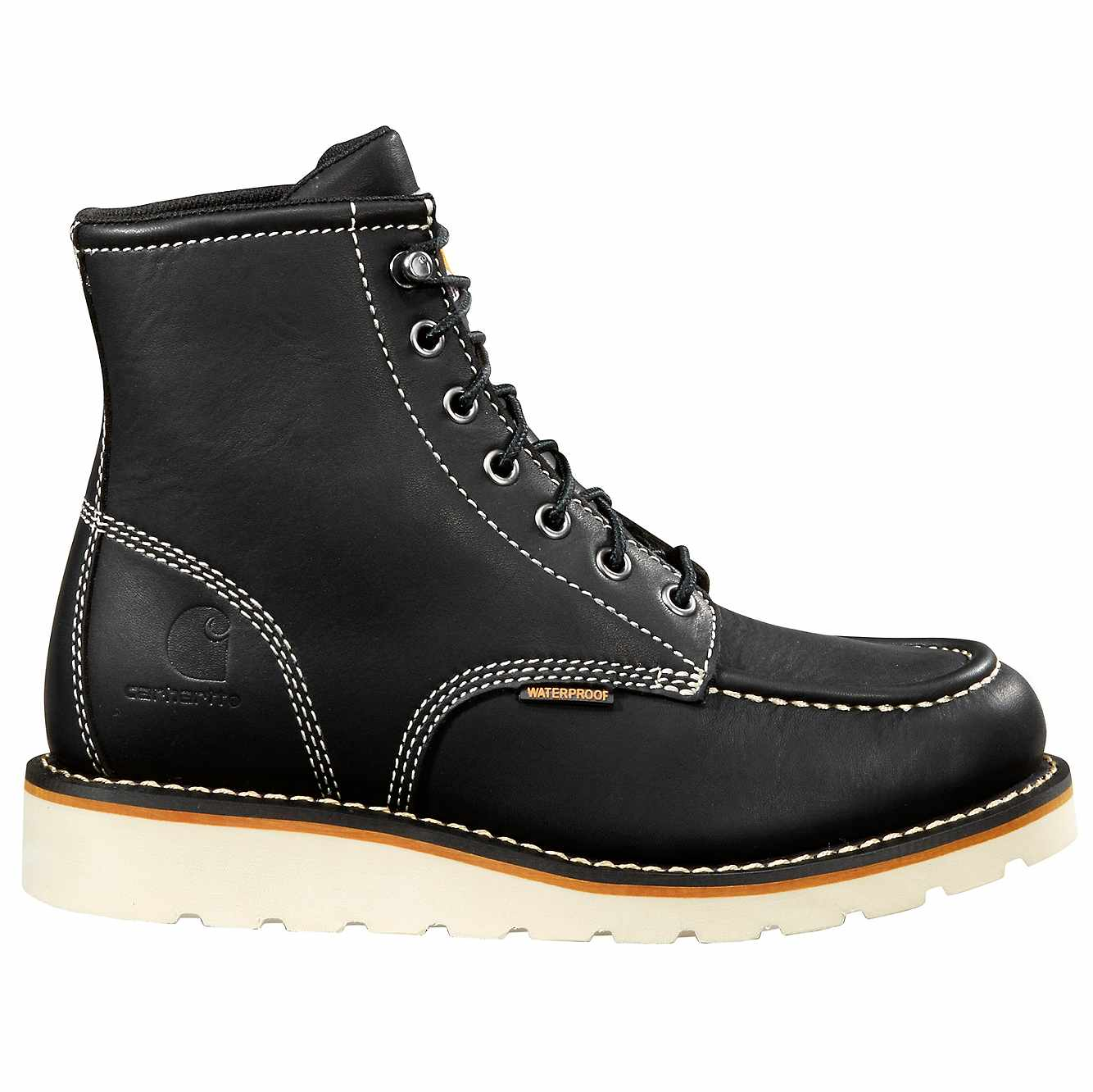 Picture of 6-Inch Non-Safety Toe Wedge Boot in Black Oil Tanned