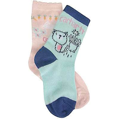 Carhartt Girls' Blue/Pink Multi Crew Sock - front