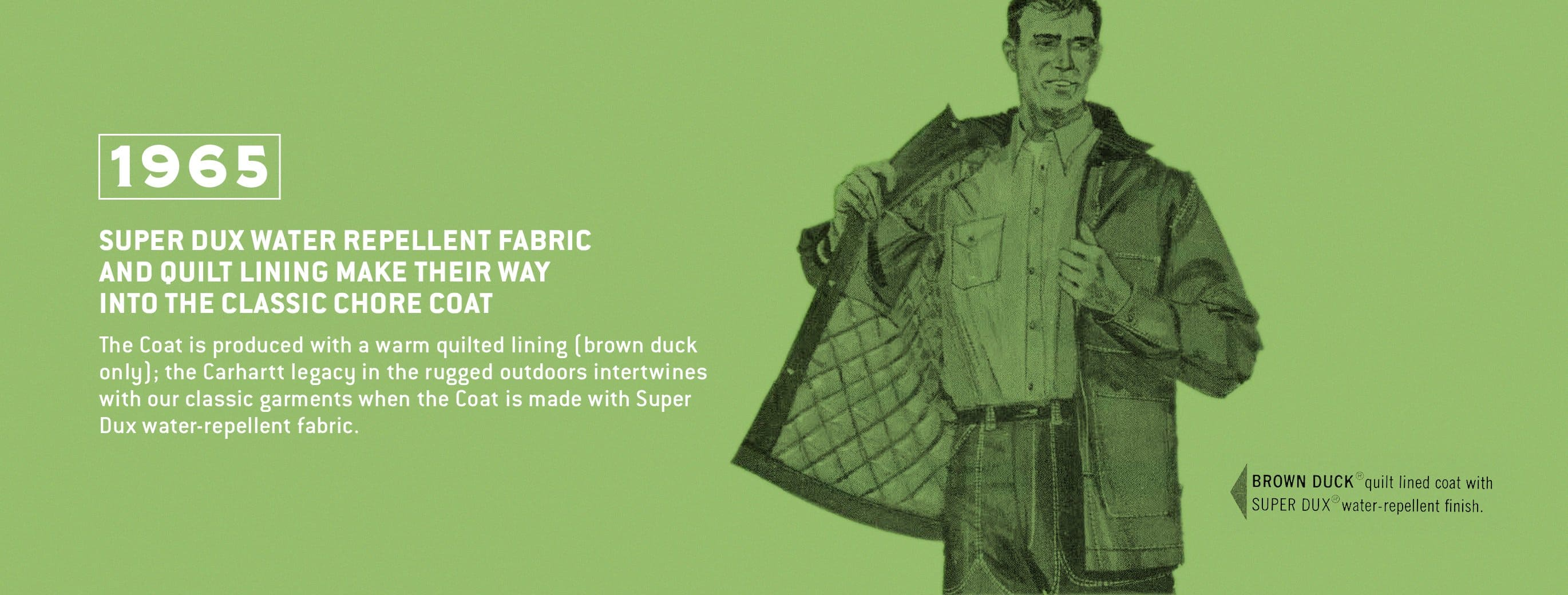 Super dux water repellent fabric and quilt lining make their way into the classic chore coat