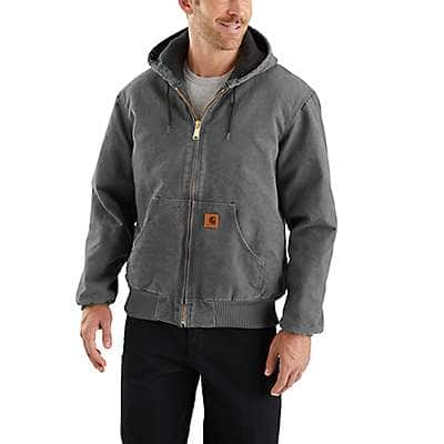 Carhartt Men's Carhartt Brown Sandstone Quilted Flannel-Lined Active Jac - front