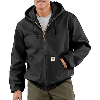 Carhartt Men's Black Loose Fit Firm Duck Thermal-Lined Active Jac