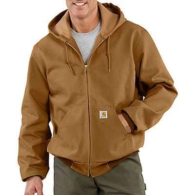 Carhartt Men's Carhartt Brown Loose Fit Firm Duck Thermal-Lined Active Jac