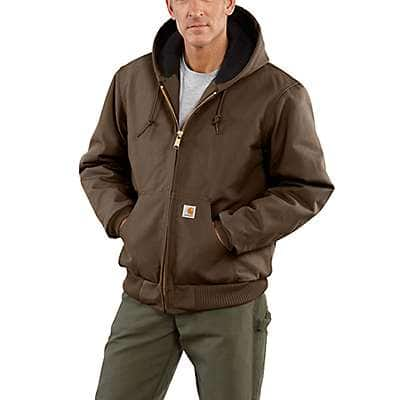 Carhartt Men's Coffee Loose Fit Firm Duck Insulated Flannel-Lined Active Jac