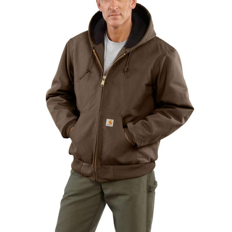 Carhartt  Coffee Loose Fit Firm Duck Insulated Flannel-Lined Active Jac