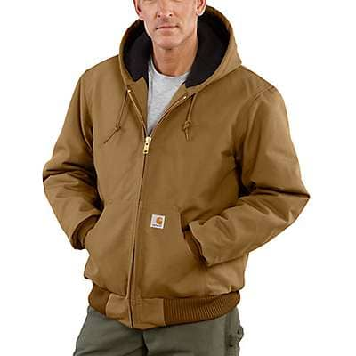 Carhartt Men's Carhartt Brown Loose Fit Firm Duck Insulated Flannel-Lined Active Jac