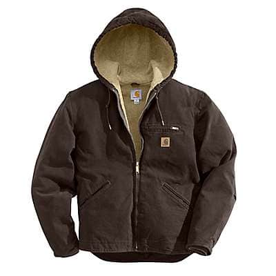 Carhartt Men's Dark Brown Sandstone Sherpa-Lined Sierra Jacket - front