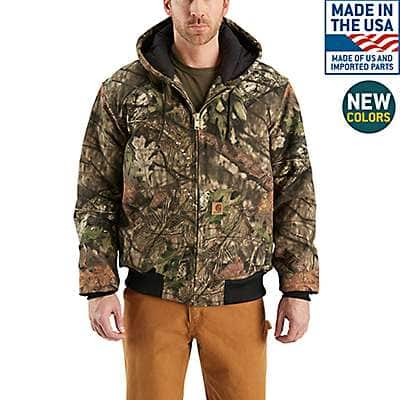 Carhartt Men's Mossy Oak Break-Up Country Camo Quilted Flannel-Lined Active Jac - front