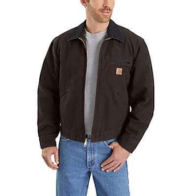 Carhartt Men's Dark Brown Sandstone Blanket-Lined Detroit Jacket - front