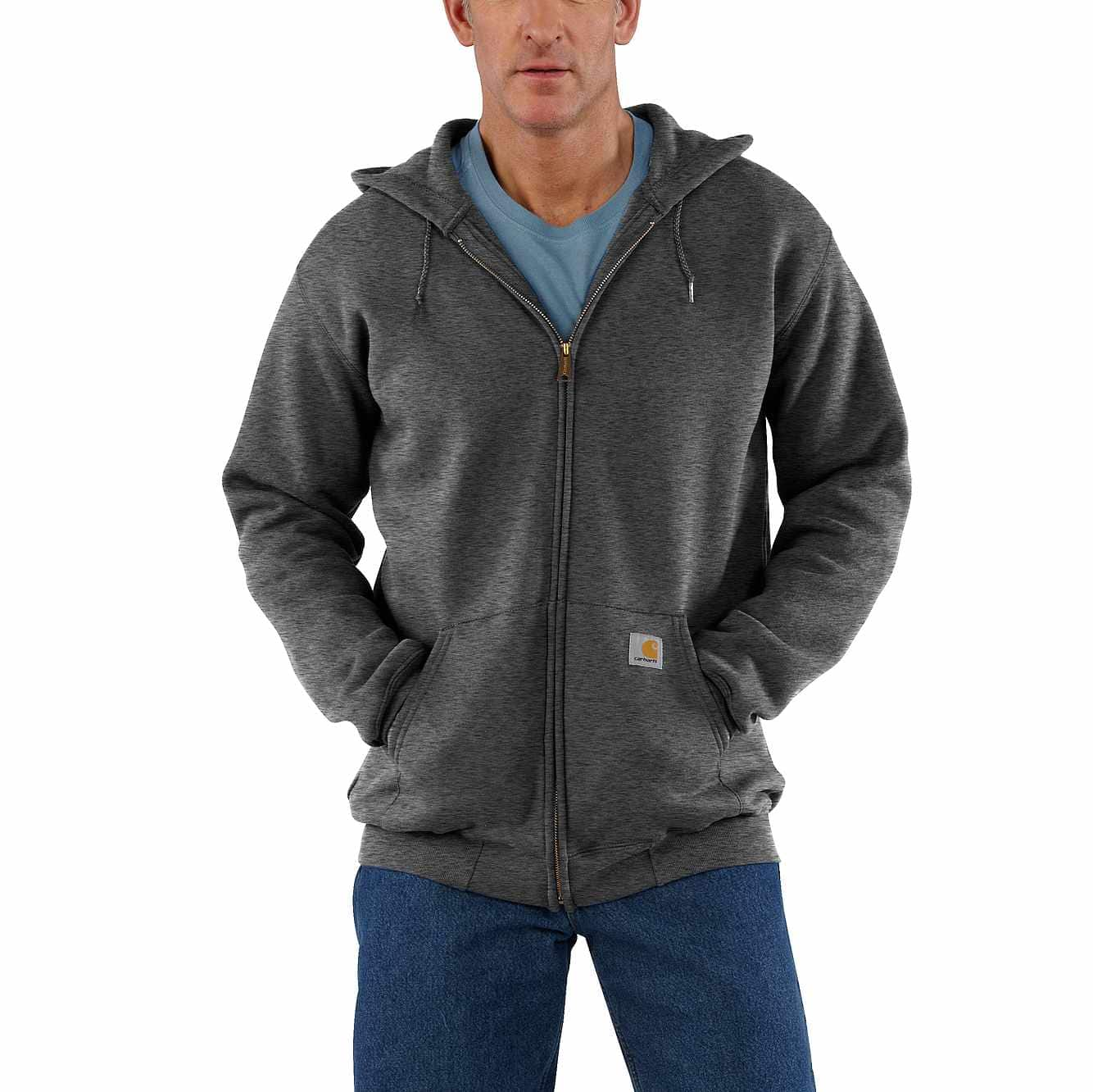 Picture of Midweight Hooded Zip-Front Sweatshirt in Carbon Heather