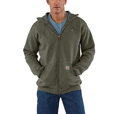 Carhartt Men's Carbon Heather Midweight Hooded Zip-Front Sweatshirt - front