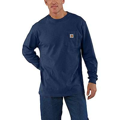Carhartt Men's Black Workwear Long-Sleeve Pocket T-Shirt - back